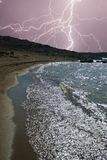 Stormy beach. Stormy beach, photomontage made from a storm photograph and another of a dam beach royalty free stock photo