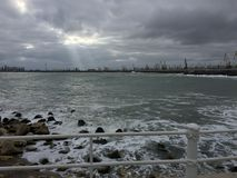 Stormy Black Sea in winter stock photo