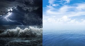 Stormy and calm sea or ocean surface Stock Photo