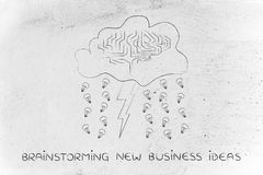 Stormy cloud with brain, bolt & rain of ideas, brainstorming new Royalty Free Stock Image