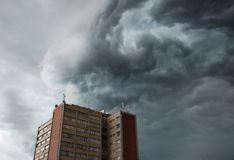 Stormy clouds. Looks like mini tornado before the rain Royalty Free Stock Photography