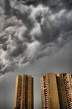 Stormy clouds. Dramatic stormy clouds over row of tipical residential houses.Kiev,Ukraine stock image