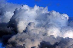 Stormy clouds. Dramatic hazardous atmosphere close up stormy clouds royalty free stock images