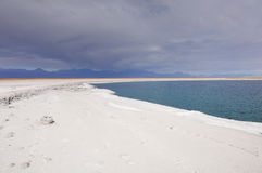 Stormy clouds above Laguna Cejar. Royalty Free Stock Images