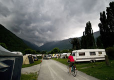 Stormy clouds at camp site stock photo