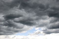 Stormy clouds. Stormy, dark clouds on the rainy sky Stock Image