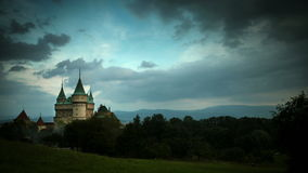 Stormy clouds gather over Bojnice Castle Time-lapse stock video footage