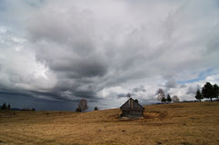 Stormy clouds in Moeciu, Romania Royalty Free Stock Images