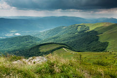 Stormy clouds over Bieszczady mountains, Poland  View of Tarnica Stock Image