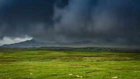 Stormy clouds over field, Skye Island, Scotland stock video