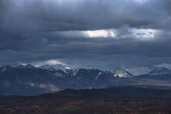 Stormy clouds over la sal mountains Stock Images