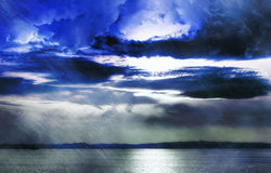 Stormy clouds over Lake Stock Image