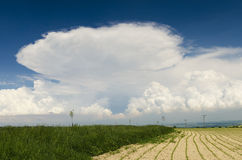 Stormy clouds over landscape. Clouds over landscape before a storm Stock Photos