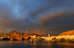 Stormy clouds over Los Cristianos Royalty Free Stock Photo