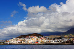 Stormy clouds over Los Cristianos resort in Tenerife Stock Photography