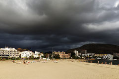 Stormy clouds over Los Cristianos resort in Tenerife Stock Image