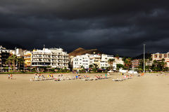 Stormy clouds over Los Cristianos resort in Tenerife Royalty Free Stock Photos