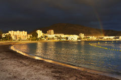 Stormy clouds over Los Cristianos resort in Tenerife Stock Photos