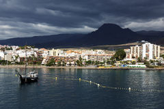 Stormy clouds over Los Cristianos resort in Tenerife Royalty Free Stock Photo
