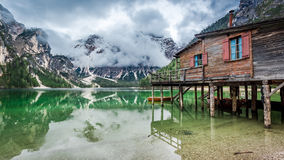Stormy clouds over Pragser Wildsee in Dolomites Royalty Free Stock Photography