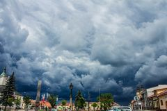 Free Stormy Clouds Over The City. Beautiful Cityscape. Background. Stock Photo - 121299450