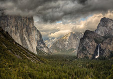 Stormy Clouds over Tunnel View in Yosemite Stock Photo