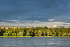 Stormy clouds over Vistula river in Warsaw Royalty Free Stock Images