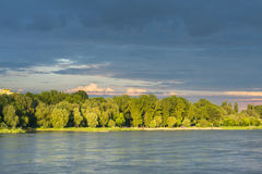Stormy clouds over Vistula river in Warsaw Stock Photography