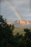 Stormy clouds and rainbow over Sedona, Arizona Royalty Free Stock Photography