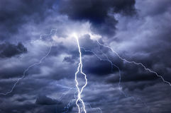 Stormy clouds, thunder and lightning Royalty Free Stock Photo