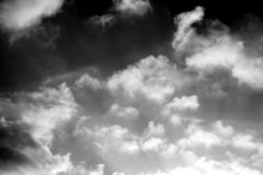Stormy cloudy sky background, black and wthie. Stormy cloudy sky natural photo background. Black and white photos stock photo