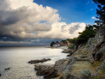 Stormy coast. Scene after the storm somewhere on the island of Losinj, Croatia Stock Photography