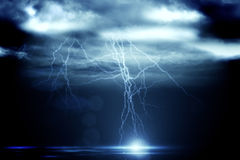 Stormy dark sky with lightning bolts Stock Image