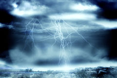 Stormy dark sky with lightning bolts Stock Photography