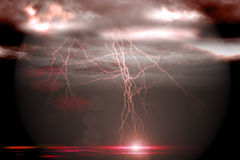 Stormy dark sky with lightning bolts Royalty Free Stock Photos