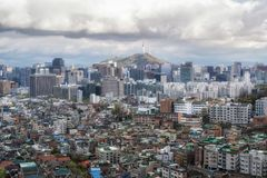 Dark gloomy sky over seoul Royalty Free Stock Photos