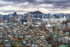 Dark gloomy sky over seoul Stock Image