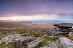 Stormy Dartmoor. Rain clouds over Dartmoor National Park in Devon from West Mill Tor near Okehampton royalty free stock image