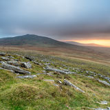 Stormy Dartmoor. Stormy sunset from West Mill Tor at Okehampton Camp on Dartmoor in Devon stock photography
