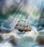 Stormy day. View of a ship sailing in the sea during a stormy day Royalty Free Stock Photos