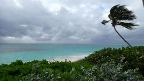 Stormy day on a beach in Hopetown Abacos Bahamas stock photo