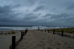 Stormy Day at the Beach. In Seaside Park, New Jersey stock photography