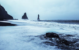Stormy day on The black sand beach - Iceland Royalty Free Stock Image
