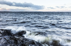 Stormy day next to lake in December in Finland Stock Photo