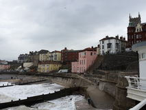 Stormy day in a seaside town, UK. Views of a small English seaside town on a gloomy day before the rain Stock Image