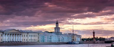 Stormy day in St. Petersburg along the Neva River. At sunset Royalty Free Stock Image