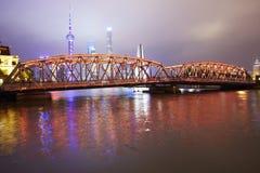 Shanghai city skyline and bridge, China stock photography