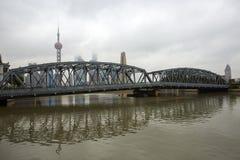 Shanghai city skyline and bridge, China royalty free stock image