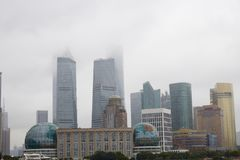 Shanghai city skyline and typhoon, China royalty free stock images