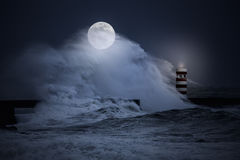 Stormy full moon night at sea royalty free stock images